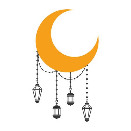 half moon and lanterns ramadan kareem celebration vector illustration design