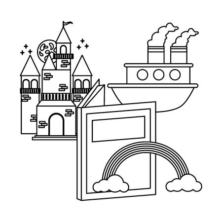 castle boat rainbow textbook world book day Illustration