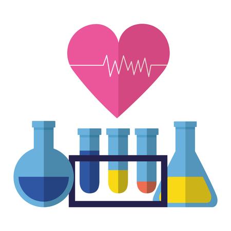 matraces médicos vaso de precipitados latido del corazón clínica ilustración vectorial