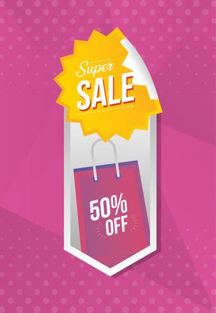 super sale off banner discount bag buy vector illustration Çizim