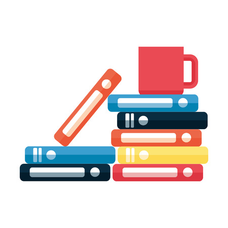 books stacked and coffee cup on white background vector illustration