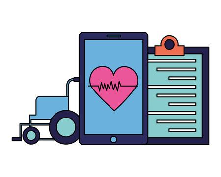 medical smartphone wheelchair clipboard heart app vector illustration Ilustração