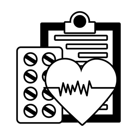 medical clipboard heartbeat pharmacy pills vector illustration vector illustration Banco de Imagens - 122976315