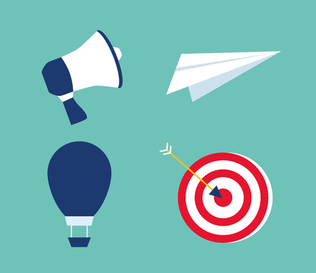 business success set paper plane speaker air balloon and target vector illustration
