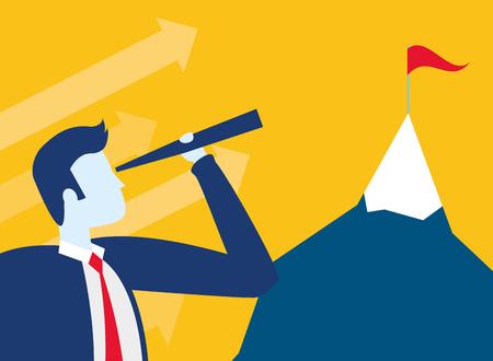 businessman looking telescope mountain flag business success vector illustration Standard-Bild - 122847860