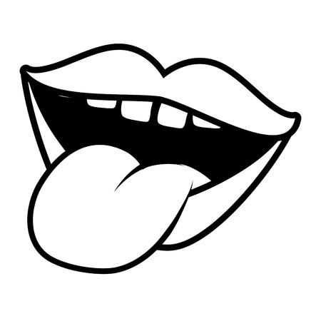 bouche, langue, dehors, pop art, élément, vecteur, illustration