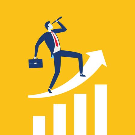 businessman  looking telescope arrow growth business success vector illustration