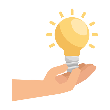 hand with saver bulb and ecology icons vector illustration design  イラスト・ベクター素材