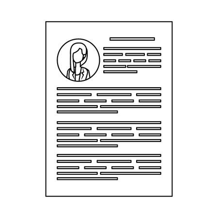 female curriculum vitae document vector illustration design