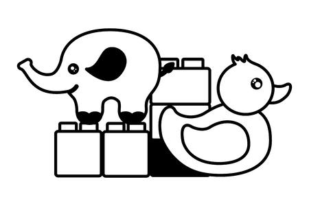 kids toys elephant duck blocks vector illustration Banque d'images - 122867458