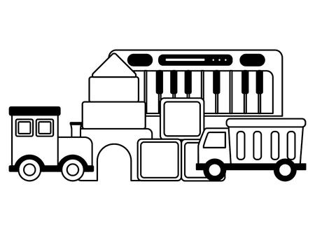 baby toys piano train truck cubes castle design vector illustration