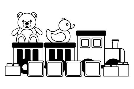 kids toys train bear duck cubes blocks vector illustration