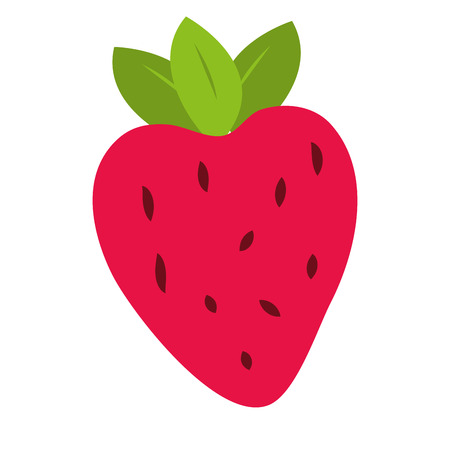 strawberry fruit icon on white background vector illustration