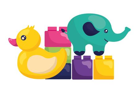 kids toys elephant duck blocks vector illustration Banque d'images - 122976397