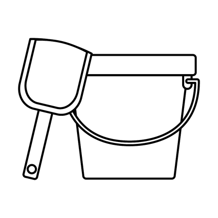 bucket shovel kids toy on white background vector illustration Ilustração
