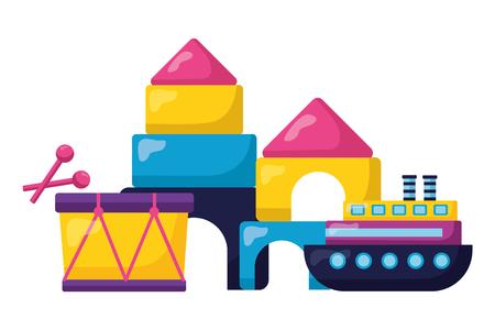 kids toys drum boat castle puzzles vector illustration Stock Illustratie