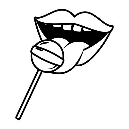 Mund und Lutscher süße Pop-Art-Elemente-Vektor-Illustration