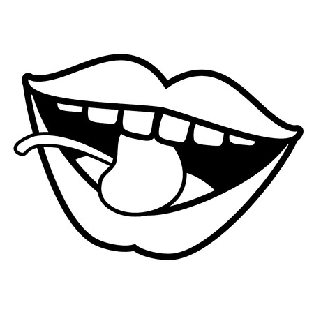 sexy mouth cherry pop art element vector illustration 向量圖像