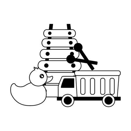 truck duck and xylophone  baby toys vector illustration Foto de archivo - 122976410