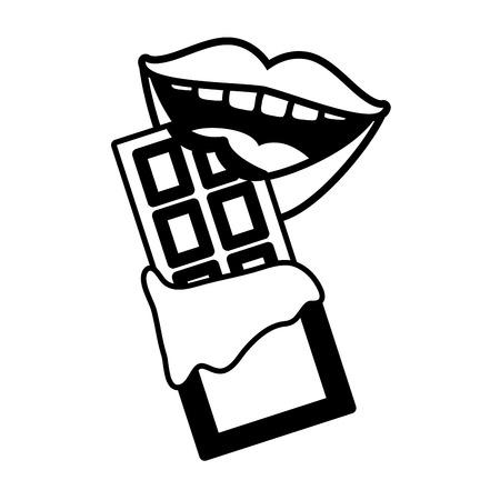 mouth chocolate bar pop art elements vector illustration Illustration