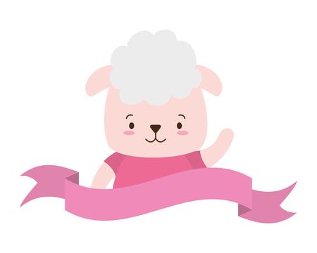 cute sheep face cartoon vector illustration design Illustration