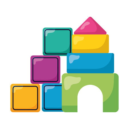 baby toys cubes and castle puzzles design vector illustration