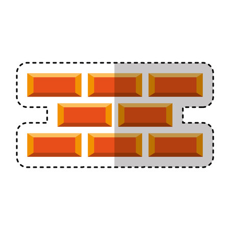 bricks wall construction icon vector illustration design