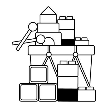 kids toys drum cubes blocks vector illustration Standard-Bild - 122881579
