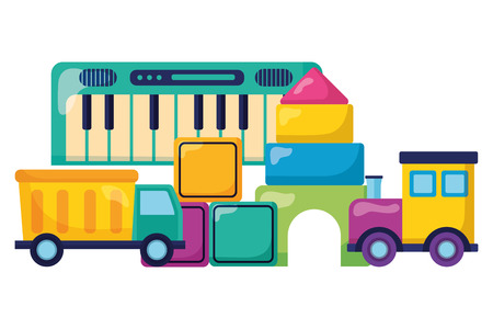 baby toys piano train truck cubes castle design vector illustration