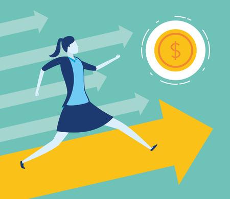 businesswoman running arrow money coin business success vector illustration