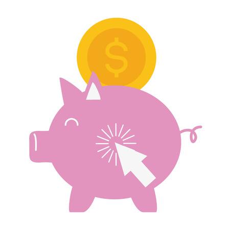 piggy bank coin money online payment vector illustration Stok Fotoğraf - 122883212