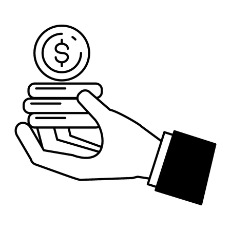 hand with coins stack online payment vector illustration