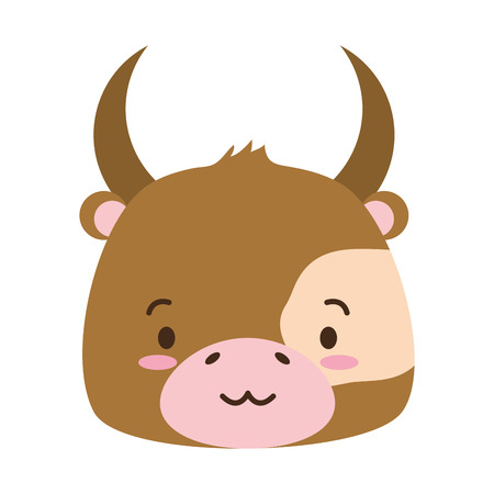 cute bull animal cartoon vector illustration design image Illustration