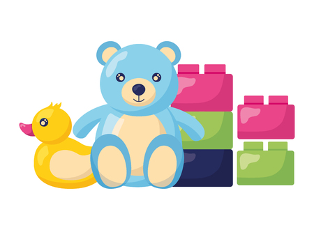 bear duck and blocks brick baby toys vector illustration