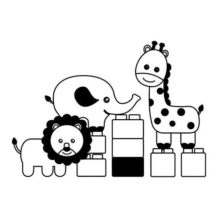 kids toys lion giraffe elephant blocks vector illustration Illustration