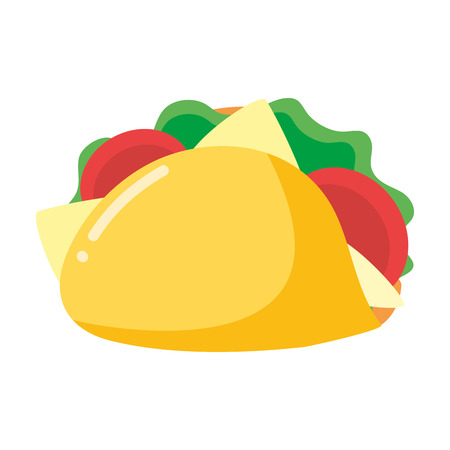 taco fast food on white background vector illustration Çizim