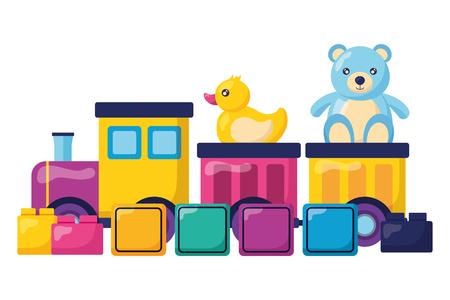 Niños juguetes tren oso pato cubos bloques ilustración vectorial