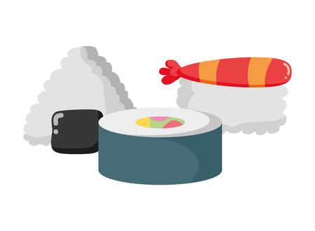 sushi rice fish fast food white background vector illustration Ilustracja