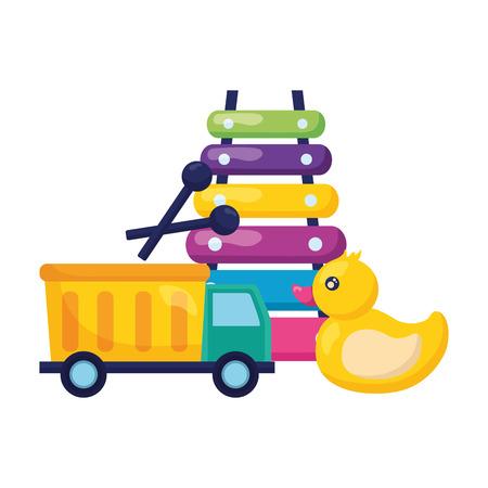 camion anatra e xilofono giocattoli per bambini illustrazione vettoriale