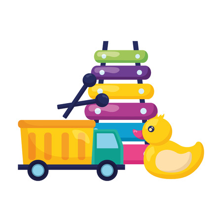 truck duck and xylophone  baby toys vector illustration Foto de archivo - 122976565