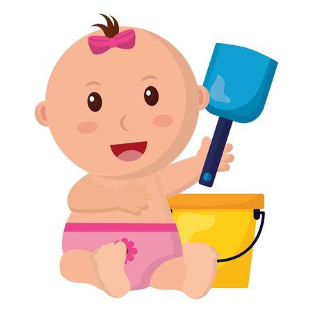 baby girl with bucket shovel toys vector illustration
