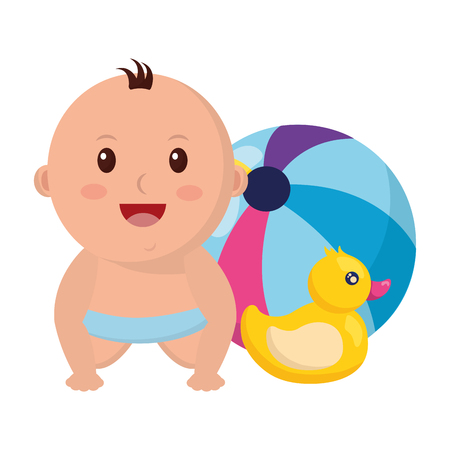 baby boy with ball duck toys vector illustration Foto de archivo - 122977057