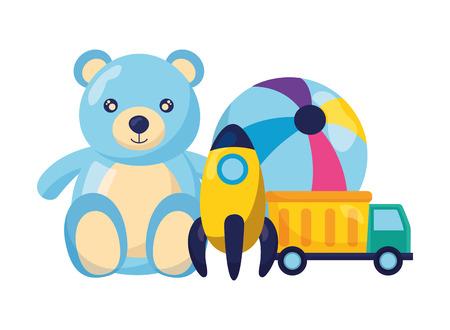 bear ball rocket and truck baby toys vector illustration