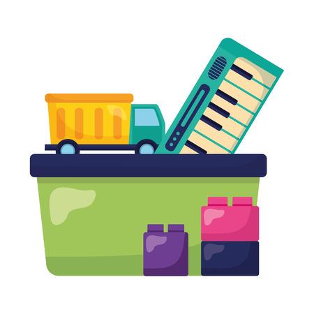 kids toys truck piano blocks vector illustration