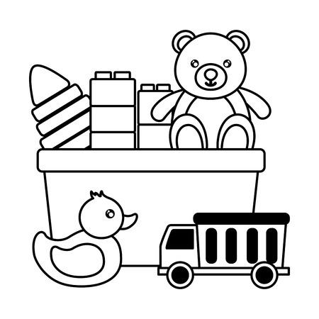 baby toys bear blocks duck truck pyramid design vector illustration Banque d'images - 122906631