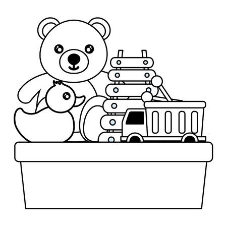 kids toys bear duck truck xylophone vector illustration Foto de archivo - 122977067