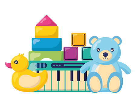 kids toys bear duck piano cubes blocks vector illustration Banque d'images - 122906644