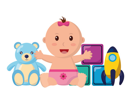 baby girl with bear rocket and cubes toys vector illustration Foto de archivo - 122978908
