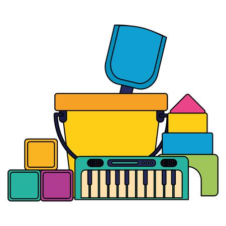 kids toys bucket shovel piano cubes castle puzzles vector illustration