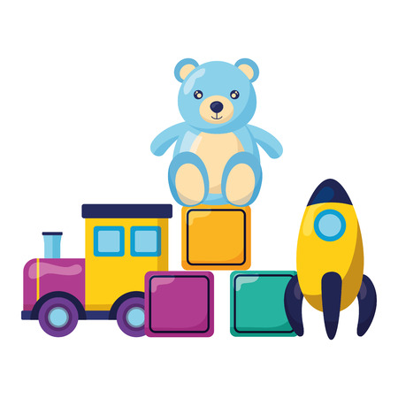 kids toys train filled blocks and bear vector illustration